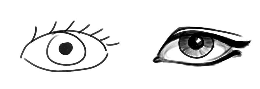 Unrealistic vs realistic eye