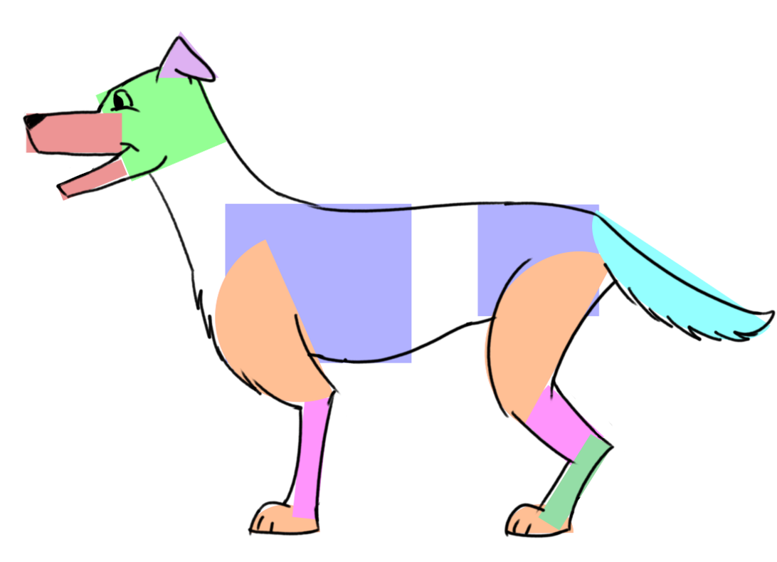 Begin to draw the dog by tracing the shapes.