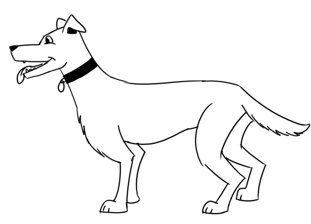Finished step-by-step drawing of a dog