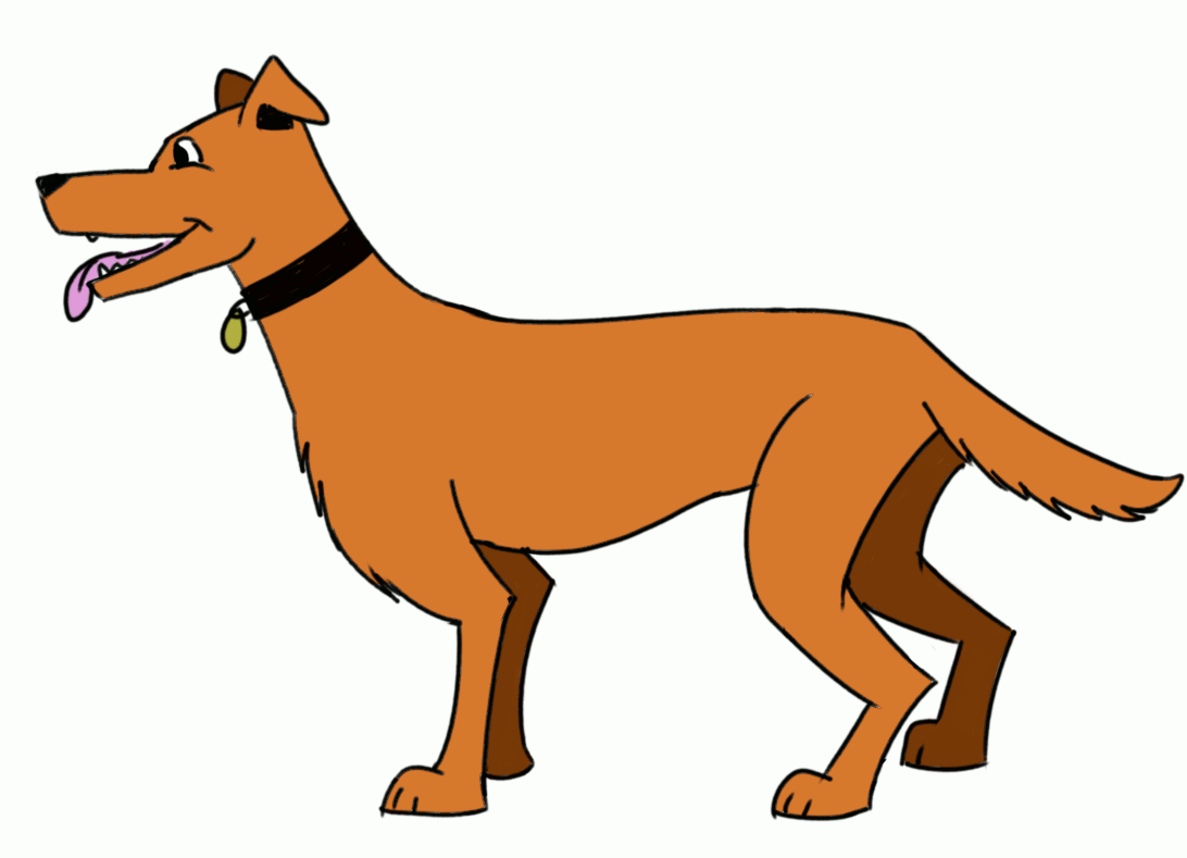 Colored drawing of a dog for beginners