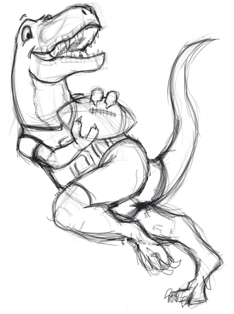 Initial sketch of T-Rex playing American Football