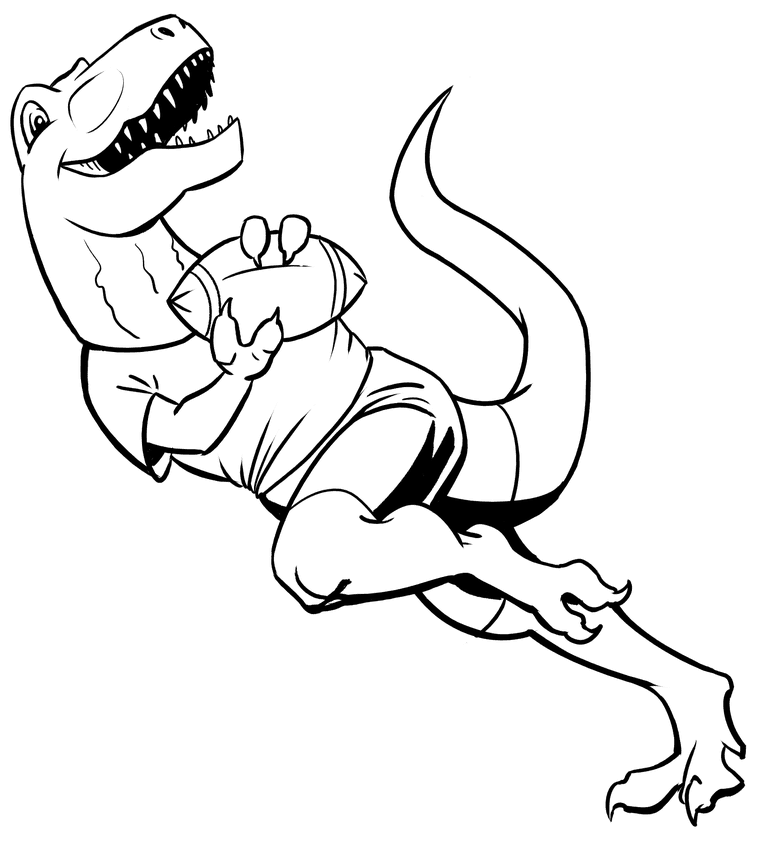 Initial inking of T-Rex playing American football