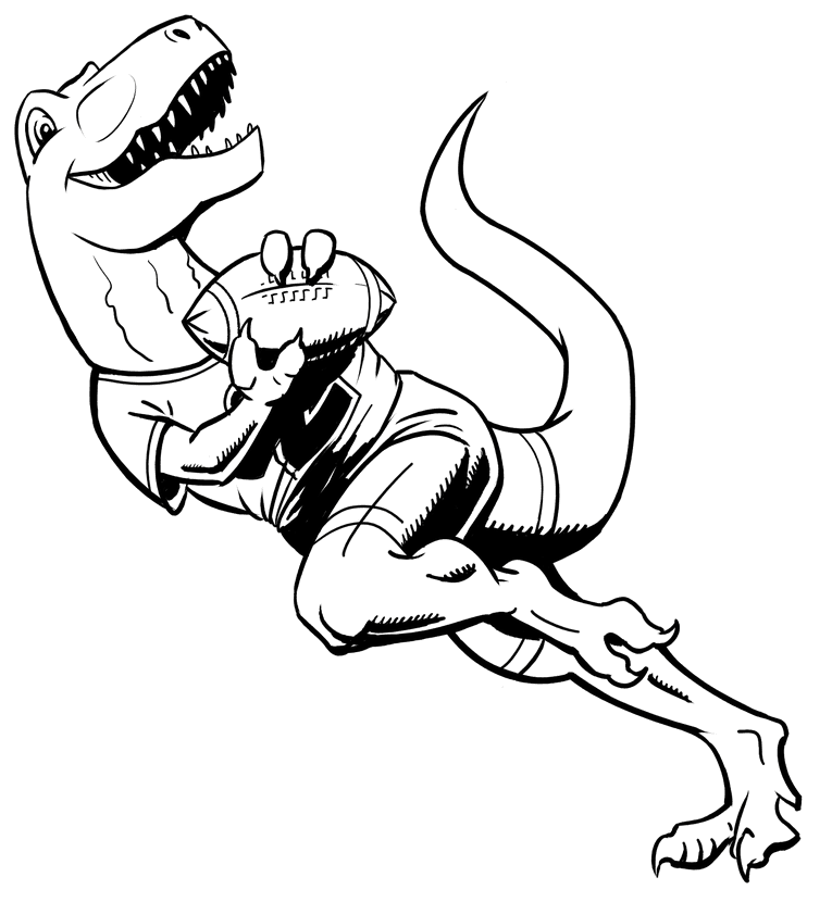 Texture inking of T-Rex playing American football